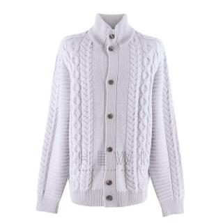 Louis Vuitton Grey Cable Knit High Neck Cardigan