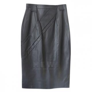 Savin London Stitch Detail Leather Pencil Skirt