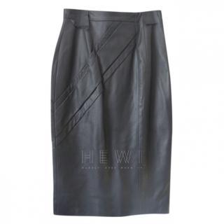 Savin London Stitch Detail Leather Pencil Skirt