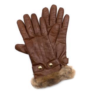 Salvatore Ferragamo Brown Leather & Cashmere Gloves