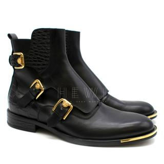 Versace Black Medusa Harness Leather Ankle Boots
