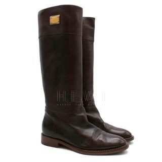 Dolce & Gabbana Brown Leather High Boots