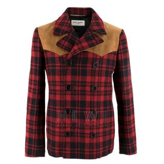 Saint Laurent Red Check Caban Wool Jacket