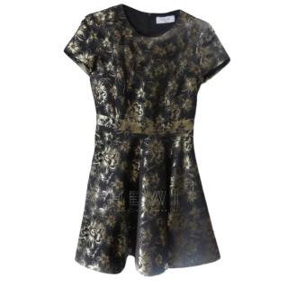 Savin London Black Floral Skater Dress