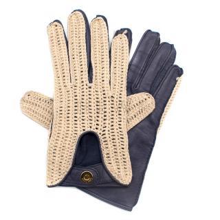 Loro Piana Leather & Crochet Gloves