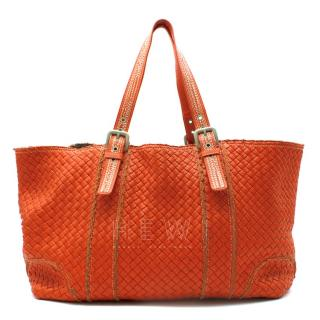 Bottega Veneta XL Red Intrecciato Stitch Detail Cabas Bag