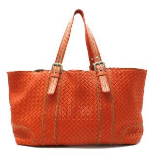 Bottega Veneta XL Red Intrecciato Stitch Detail Cabas Bag