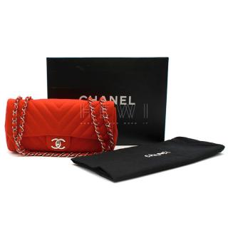 Chanel Red Chevron Jersey Mini Flap Bag