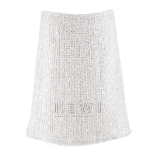 Chanel White Wool-Blend Tweed Skirt