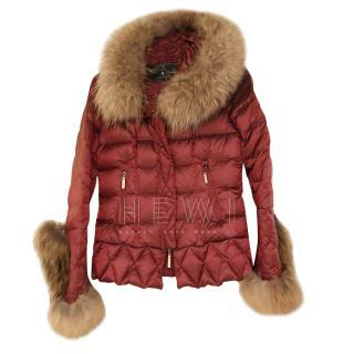 Holland Cooper Metallic Red Puffer Jacket