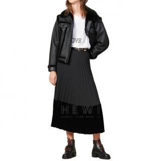 Sandro Velna Velvet Panelled Pleated Midi Skirt - New Season