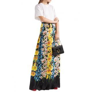 Gucci Floral Grosgrain Trim Silk Maxi Skirt