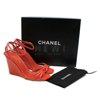 Chanel Red Patent Leather Quilted Wedge Sandals