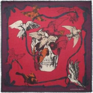 Alexander McQueen Silk Blend Bird Skull Scarf