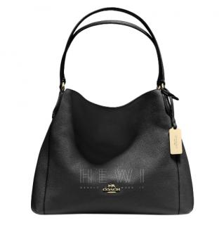 Coach Black Pebbled Leather Eddie Shoulder Bag