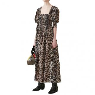 Ganni Leopard Print Silk Dress - New Season
