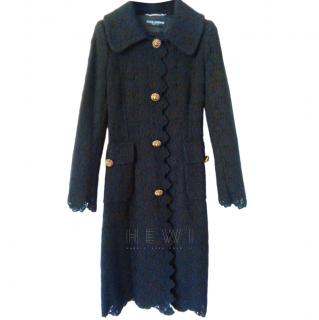 Dolce & Gabbana Wool Lace Longline Coat