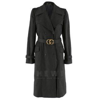 Gucci Grey Wool Trench Coat
