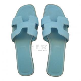 Hermes Bleu Littoral Epsom Leather Oran Sandals