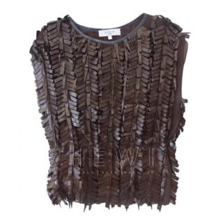 Savin London Fringe Leather Top
