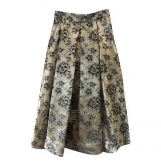 Savin London Pleated A-Line Gold Skirt