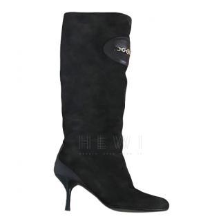 Gucci Black Suede Kitten Heel Boots