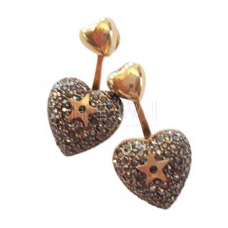 Dior Crystal Embellished Heart Earrings