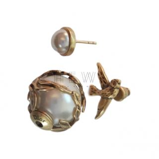 Dior Pearl & Bird Stud Earrings