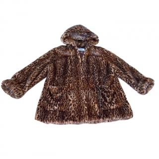 Gianfranco Ferre Leopard Print Mink Fur Hooded Jacket