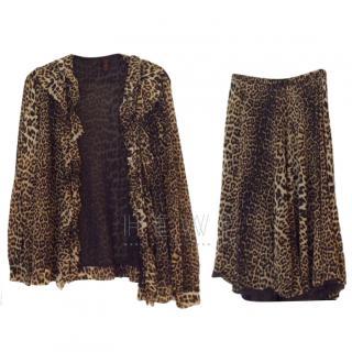 Jean Paul Gaultier Leopard Print Silk Top & Skirt