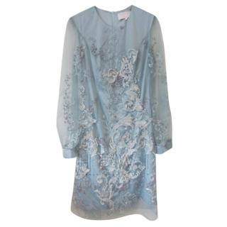 Savin London Blue Embroidered Dress