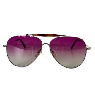 Valentino Rose Gradient V120S Aviator Sunglasses