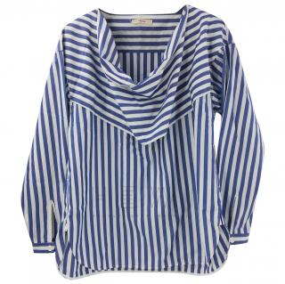 Celine Striped Draped Blouse