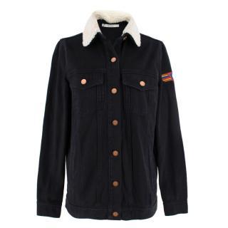 Gestuz Christal Black Denim Jacket With Stitch Detailing