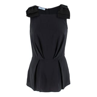 Prada Bow Embellished Fitted Pleated Top