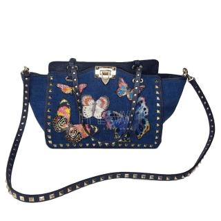 Valentino Blue Denim Embroidered Rockstud Tote