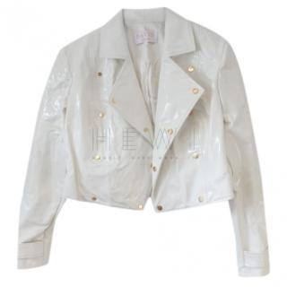 Savin London White PVC Studded Cropped Jacket