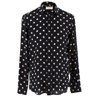 Saint Laurent Silk Polka Dot Shirt