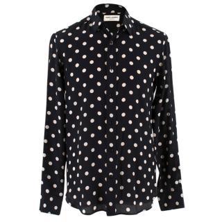 Saint Laurent Silk Polka Dot Shirt