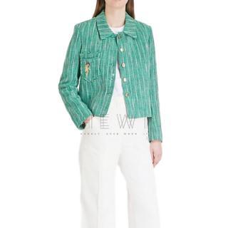 Sandro Green Tweed Parrot Motif Jacket