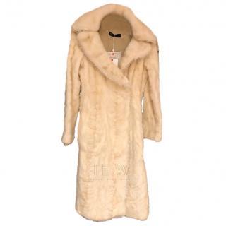 Karl Lagerfeld Cream Full Length Mink Coat
