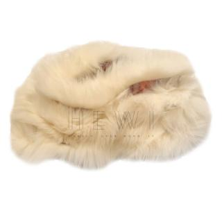 Gucci Fox Fur Trim Pink Silk Snood