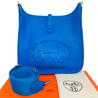 Hermes Hydra Blue Clemence Leather Evelyne II Bag