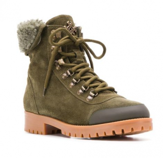 Mr & Mrs Italy Green Shearling Lined Hiking Boots