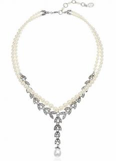 Ben Amun Crystal & Faux Pearl Tiffany Necklace