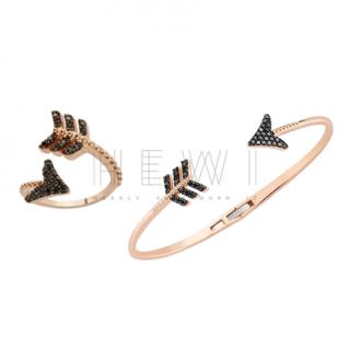 Bee Goddess Black Diamond Eros Arrow Ring & Bracelet