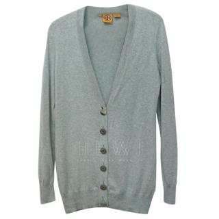 Tory Burch Grey Cotton Cashmere Fine Knit Cardigan