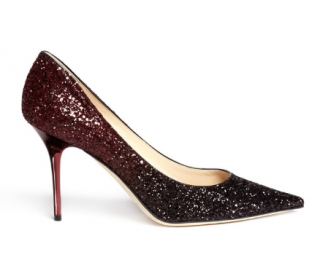 Jimmy Choo Black Agnes Degrad� Glitter Pumps