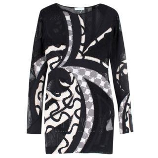 Emilio Pucci Black and White Silk Blend Printed Dress