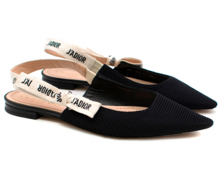 Dior Black Technical Canvas J'Adior Slingback Ballerina Flats